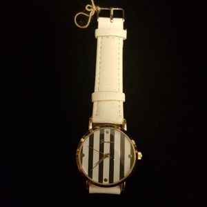 Navy and white stripe watch